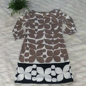 London TImes taupe/cream/black print dress sz 4
